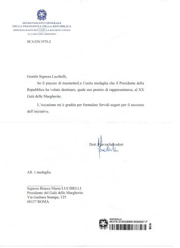 Riconoscimento Presidente della Repubblica Italiana al Gala delle Margherite.